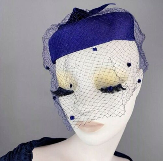 Vintage 1940s Navy Blue Halo Hat Net Whimsy Birdca