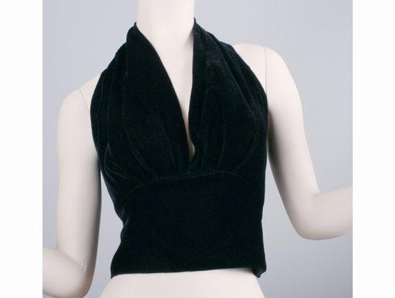 M Vintage 1950s Black Velvet Halter Crop Top Pin U