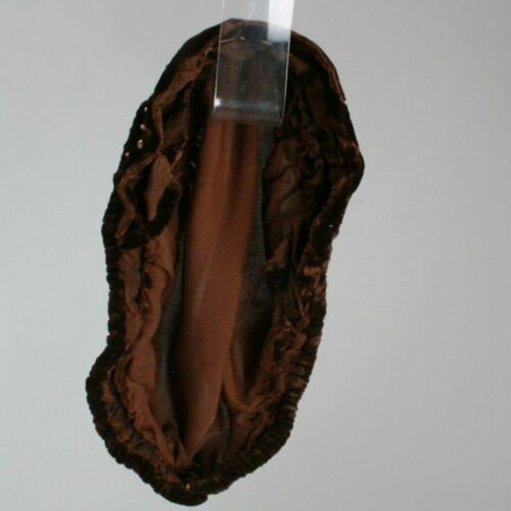 Vintage 1910s 20s Brown-Black Velvet Beret Cloche… - image 8