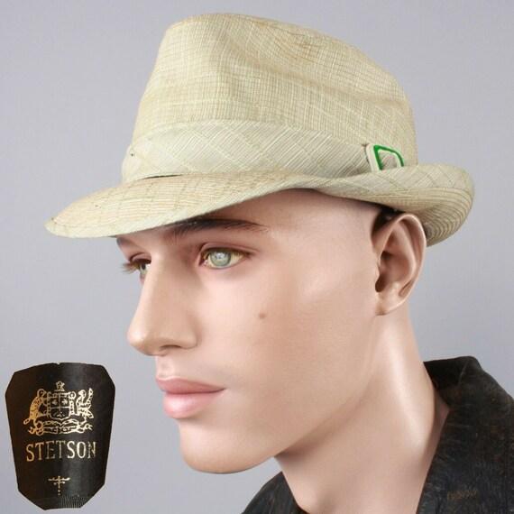 7 1/4 Vintage STETSON Light Green Plaid Stingy Bri