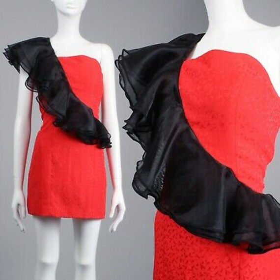 M Vintage 80s Red Black Mini Party Dress One Shoul