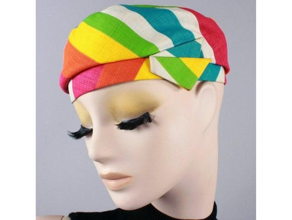 Vintage 1930s Colorful Rainbow Cotton Linen Stripe
