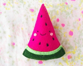 Watermelon Brooch - handmade hand sewn embroidered wool felt tropical fruit pin accessory