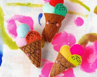 Ice cream Brooch - handmade hand sewn embroidered wool felt pin accessory badge