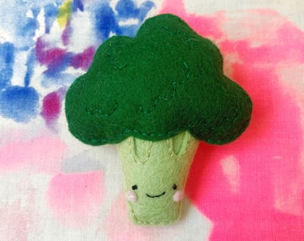 Broccoli Brooch - handmade hand sewn embroidered wool felt brassica vegetable pin accessory