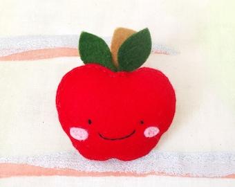 Apple Brooch - handmade hand sewn embroidered wool felt fruit pin accessory badge