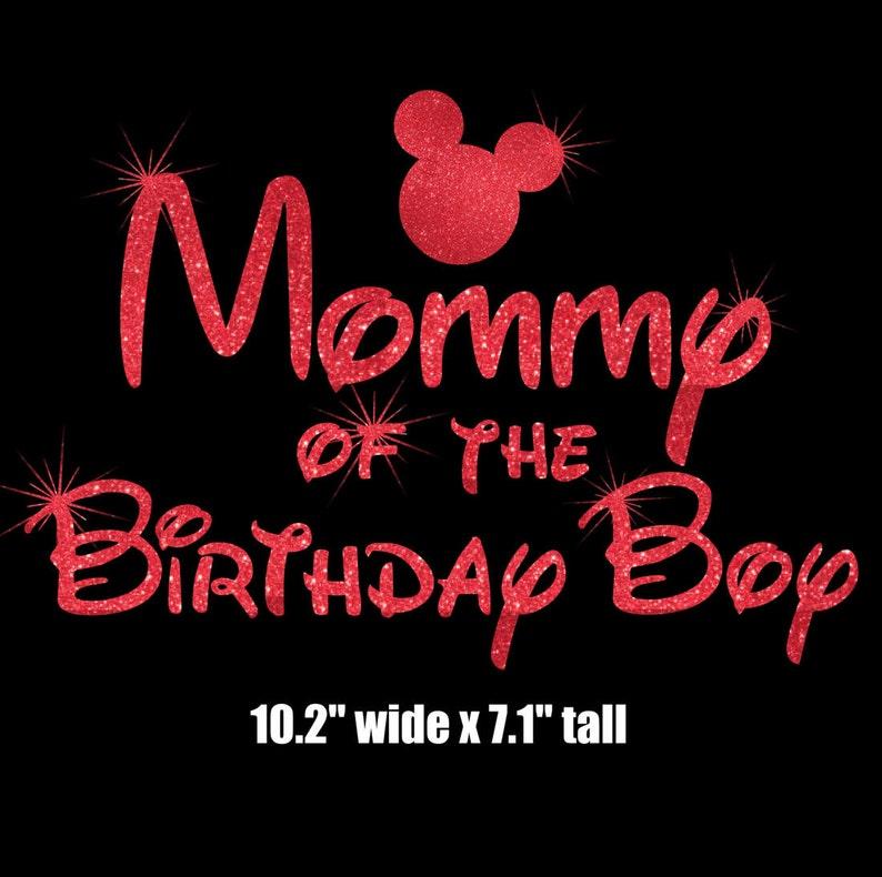 "Birthday Baby Kids Disney Glitter transfer Hot fix Iron On Tshirt Mickey Head 4/"""