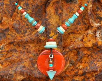 Primitive Turquoise and Red Jasper, add a little bone...