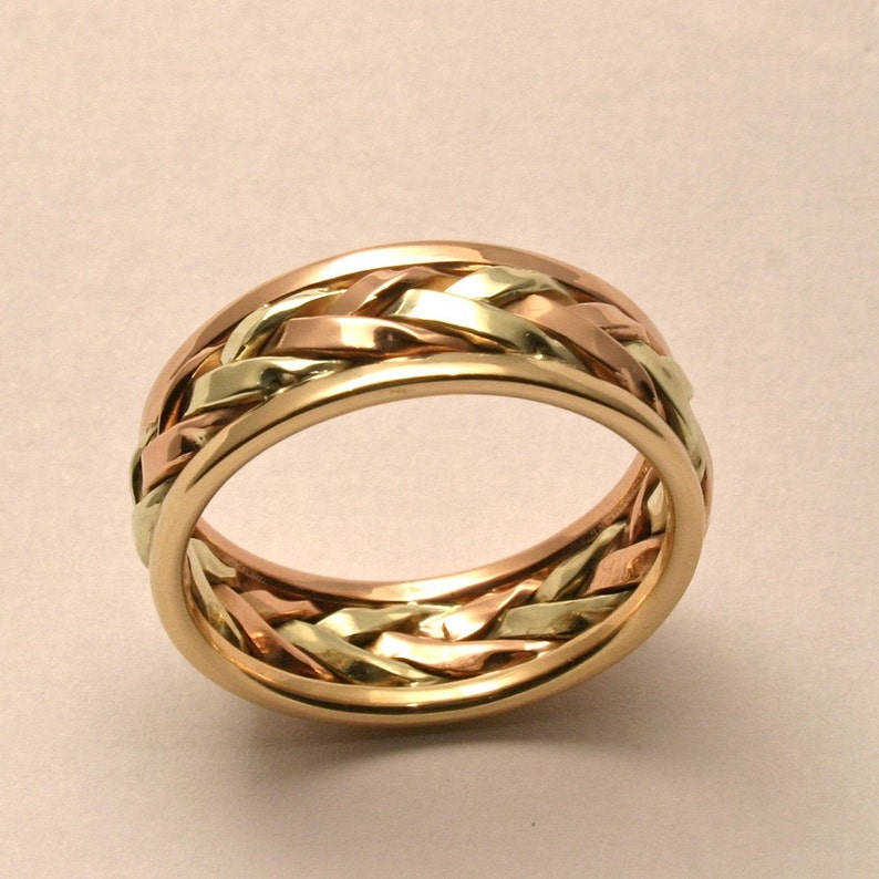 Braided in Gold: Men's Large Wedding Band Handmade in image 0