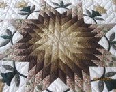 Sales.. Sales.. Sales..Handmade Quilt from Thailand, Beige-Gold Star Quilt, Room Deco, Gift