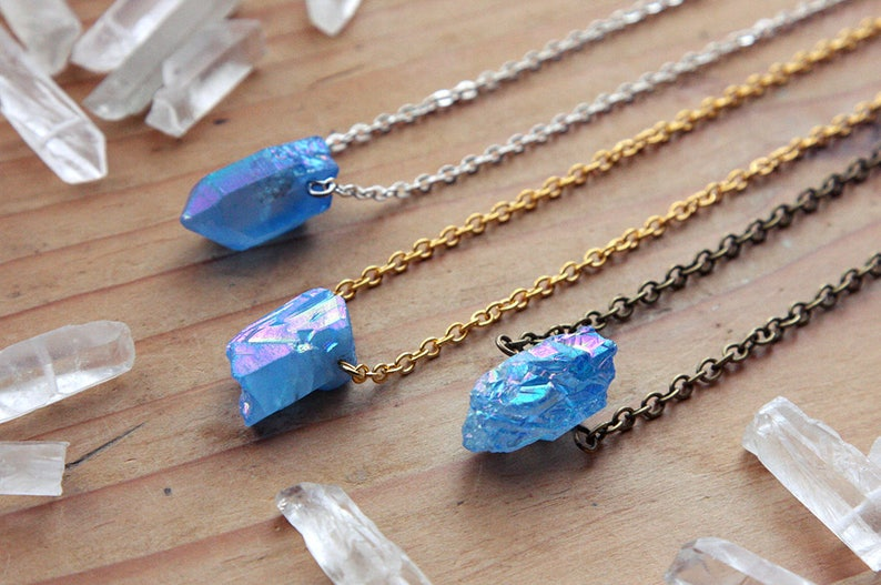 Small Blue Aura Quartz Crystal Point Necklace Raw Rough Natural Angel Aurora Gold Silver Brass Titanium Spike Druzy Points Crystals