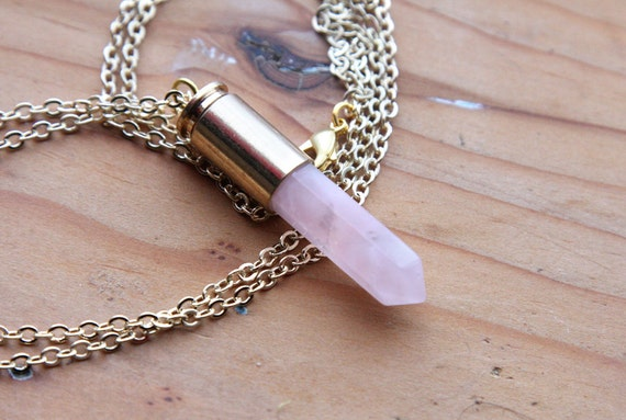 Rose Quartz Bullet Point Crystal Necklace - Gold Casing and Plated Chain, Pink Genuine Raw Crystals Natural Crystal Drop Point Points