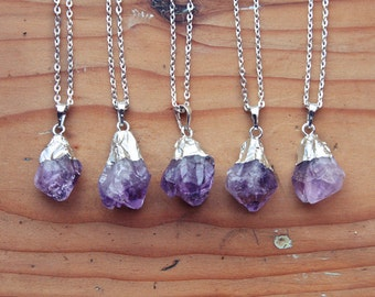 Silver Dipped Raw Amethyst Crystal Drop Necklace - Rough Clear Purple Spike Point Cluster Sterling Silver Plated Chain, Natural Layering
