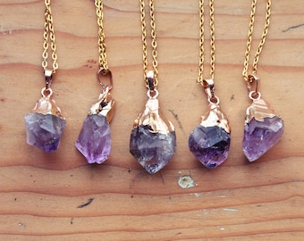 Gold Dipped Raw Amethyst Crystal Drop Necklace - Rough Clear Pastel Purple Spike Point Cluster Gold Plated Chain, Natural Layering