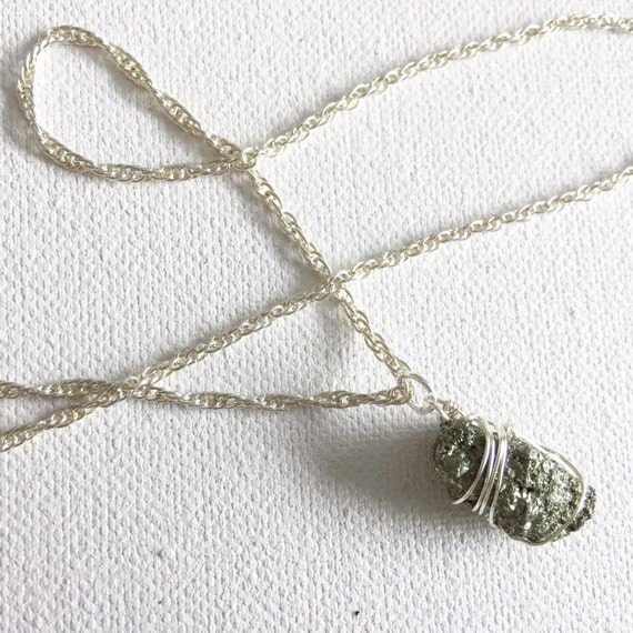 Silver & Pyrite Pendant Necklace
