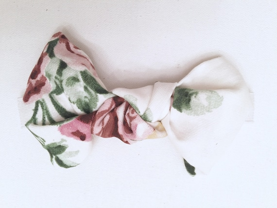 Painterly Floral & White Grounded Elastic  Headband