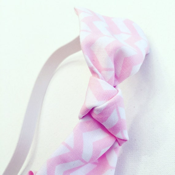 Pink & White Cotton Chevron Printed Headband