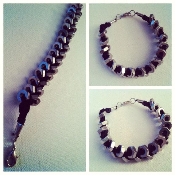 Nuts About You Silver & Black Leather Bracelet