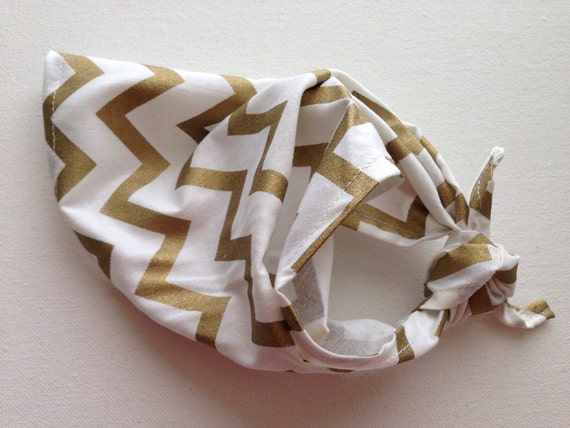 Poocci White & Gold Chevron | Dog Bandana