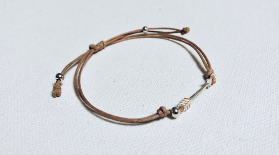 Sterling Silver Arrow & Cotton Corded Bracelet