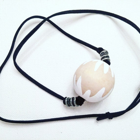 White Sunburst Wood & Suede Necklace