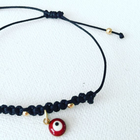 Black Crochet Bracelet & Red Evil Eye Protector