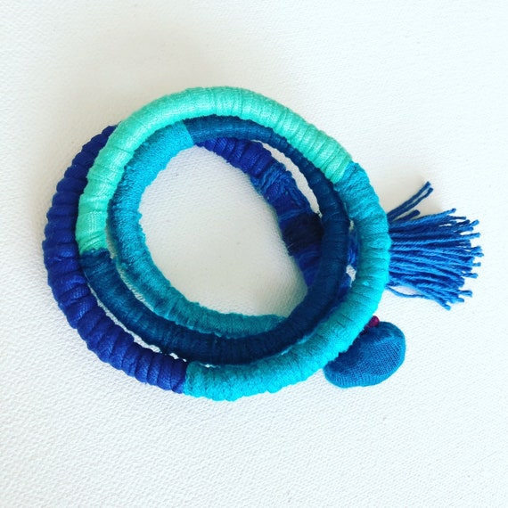 Multi Blue Corded Wrap Bracelet