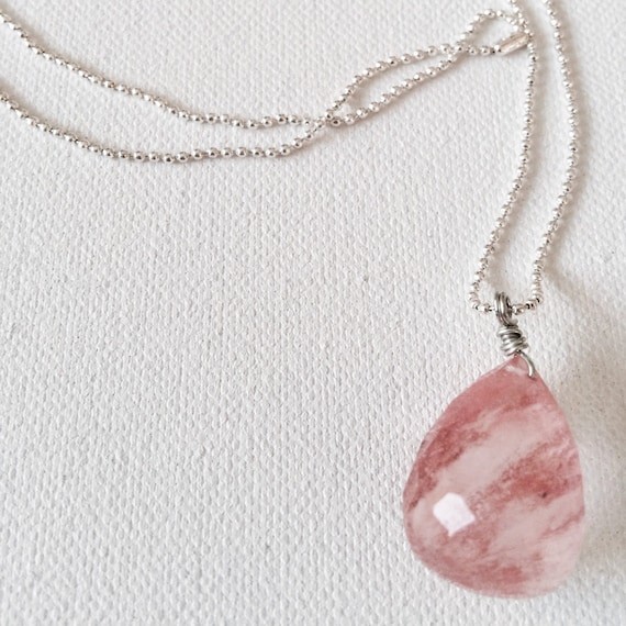 Pear Rose Quartz & Silver Ball Chain Pendant Necklace
