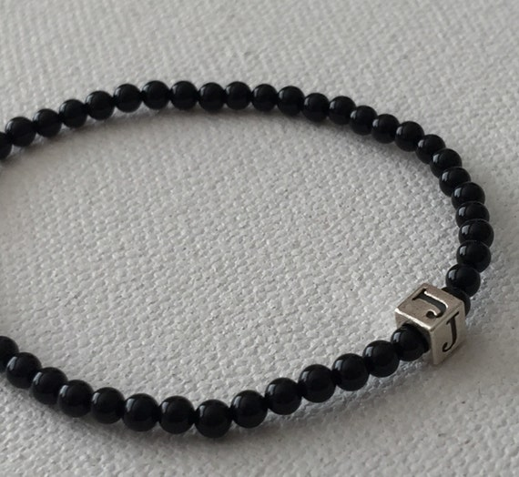Sterling Silver Little Cubes & Polished Black Agate Bracelet