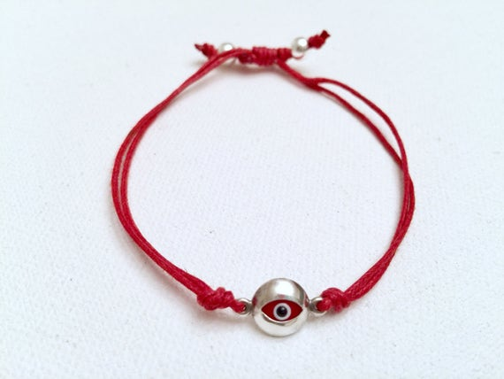 Sterling Silver Evil Eye & Red Knotted Bracelet