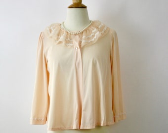 ef8576cb8fb7b Vintage 60s Bed Jacket Miss Elaine Light Peach Nylon w Chiffon Ruffle  Collar Size Med Bust 36