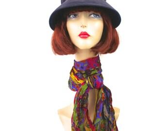 a3f4ec7cb58 Vintage 60s Winter Hat Ladies Navy Velour Felt Bucket Hat