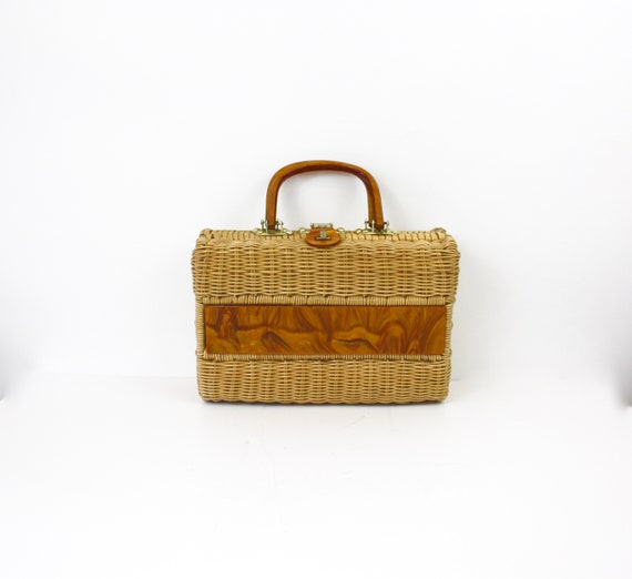 60s Wicker Box Purse Natural Coated Wicker Faux To