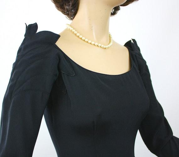 50s Dinner Dress Ceil Chapman Dress Black Rayon F… - image 3