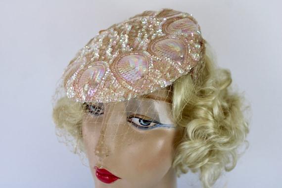 50s Pink Sequin Hat Sculptured w Iridescent Sequi… - image 6