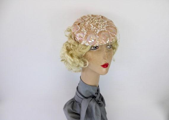 50s Pink Sequin Hat Sculptured w Iridescent Sequi… - image 5