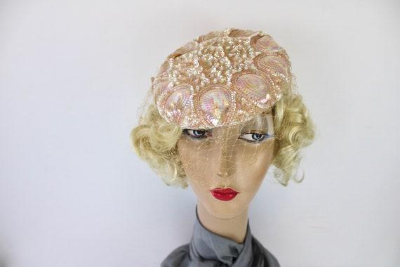 50s Pink Sequin Hat Sculptured w Iridescent Sequi… - image 1