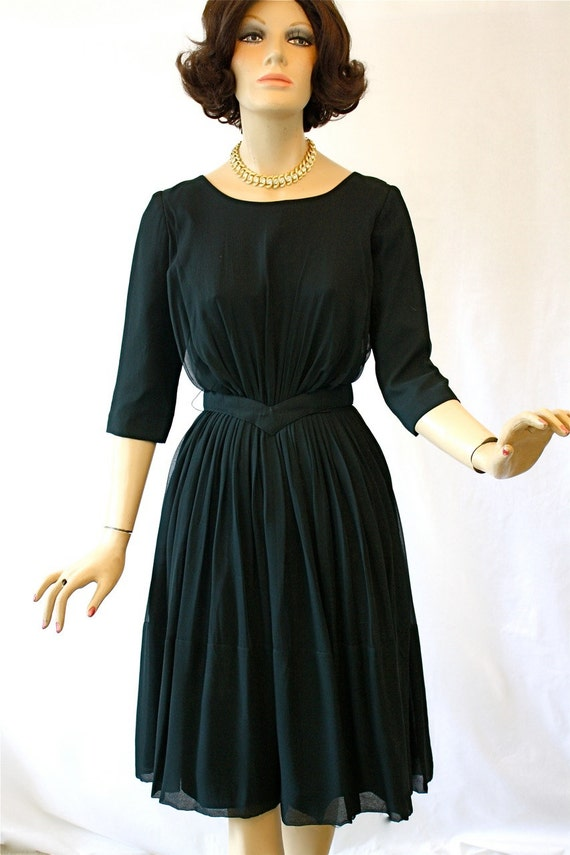 f3d84bf5531 Vintage des années 60 robe de Cocktail LBD transparent noir en
