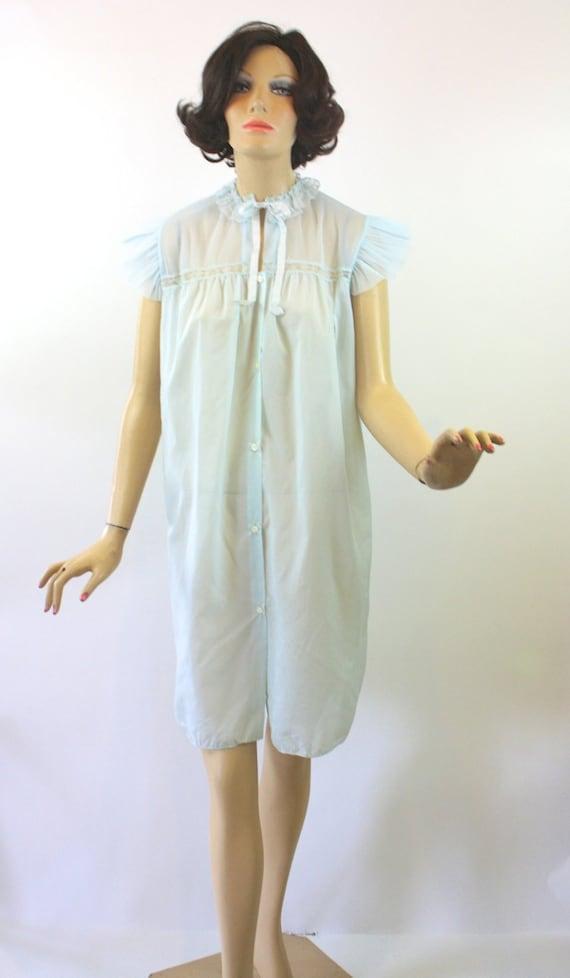 Vintage 50s Nightgown Light Blue Nylon Chiffon Crystal Pleats  203ed2e9d