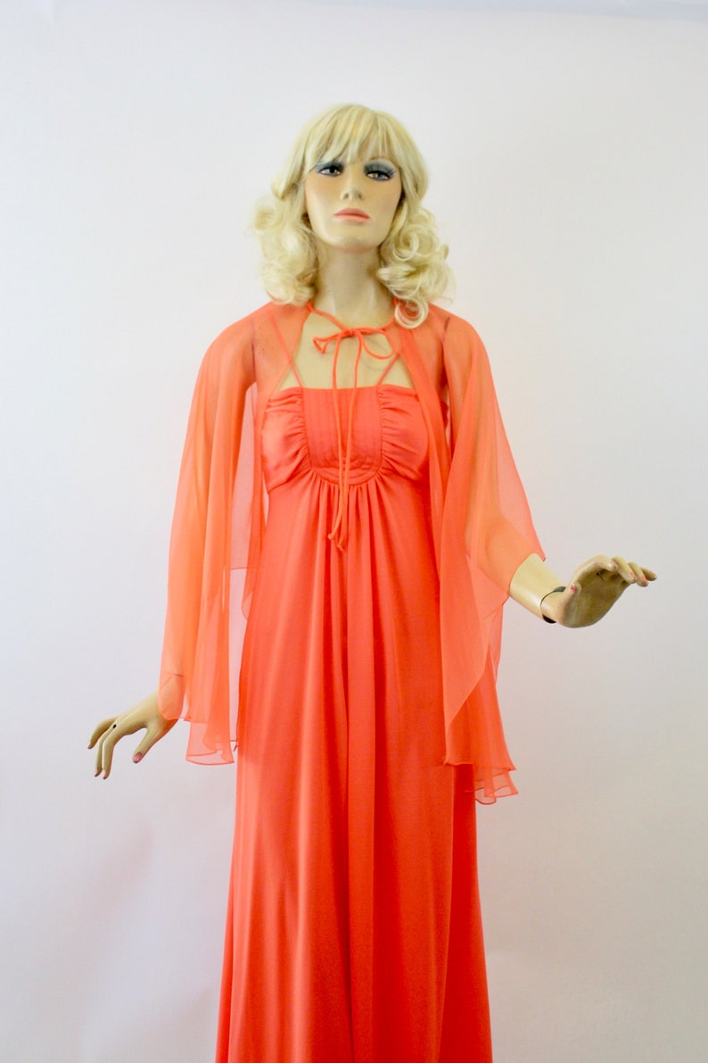 0b9a5612d3 Vintage 70s Maxi Dress Coral Orange w Sheer Chiffon Cape Shawl