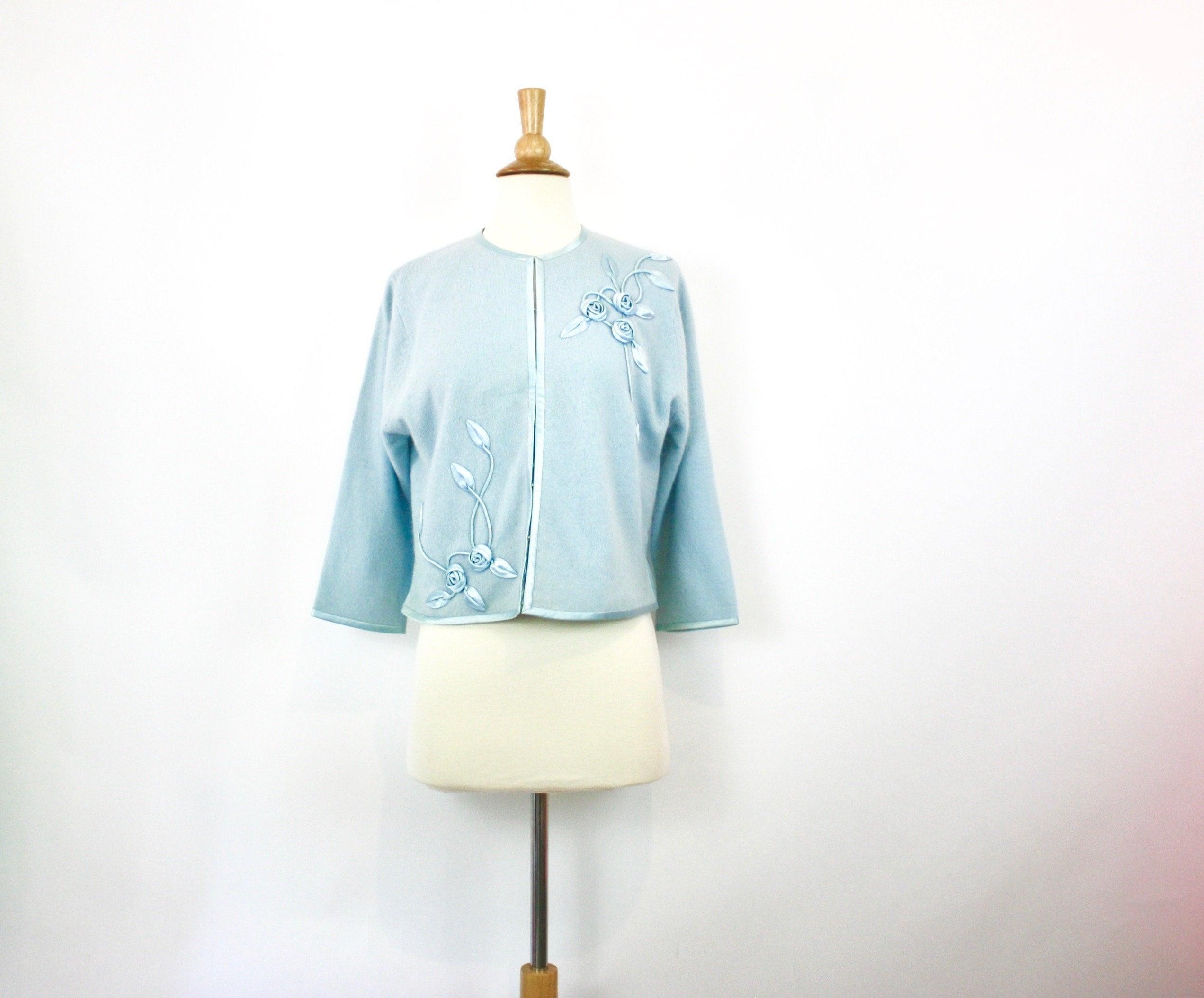 8643b40c47 Vintage 50s Cardigan Sweater Blue Angora Wool w Satin Flowers
