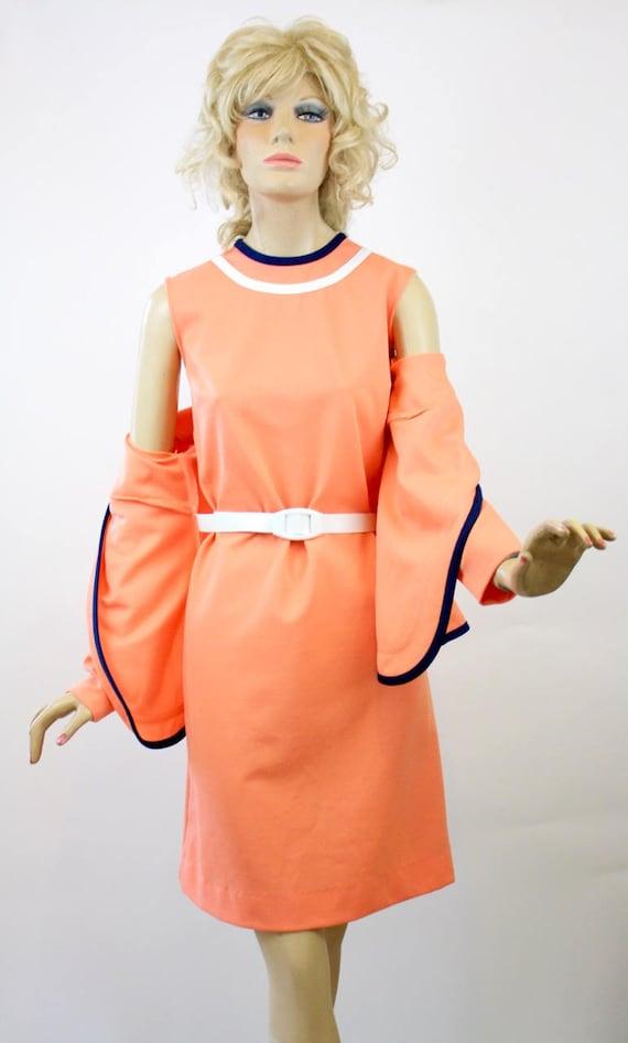 Vintage 70s Dress w Jacket Peach & Navy Polyester
