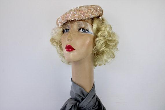 50s Pink Sequin Hat Sculptured w Iridescent Sequi… - image 7