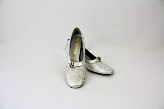 60s Formal Shoes Sparkling Silver Lame' w Rhinesto