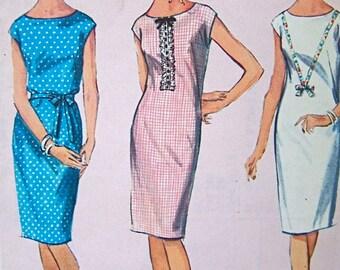Vintage 1964 Simplicity Pattern 5850  Shift Dress  Pattern Teen Size 14T Bust 34 Uncut
