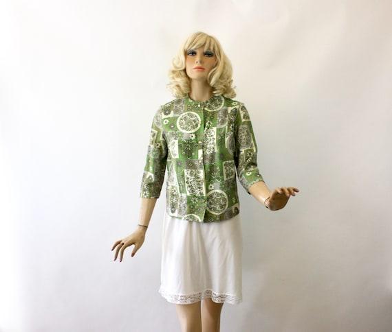 Vintage 60/'s KNIT FASHION Deadstock Tunic Top Green /& Beige Floral Pattern Size M,L