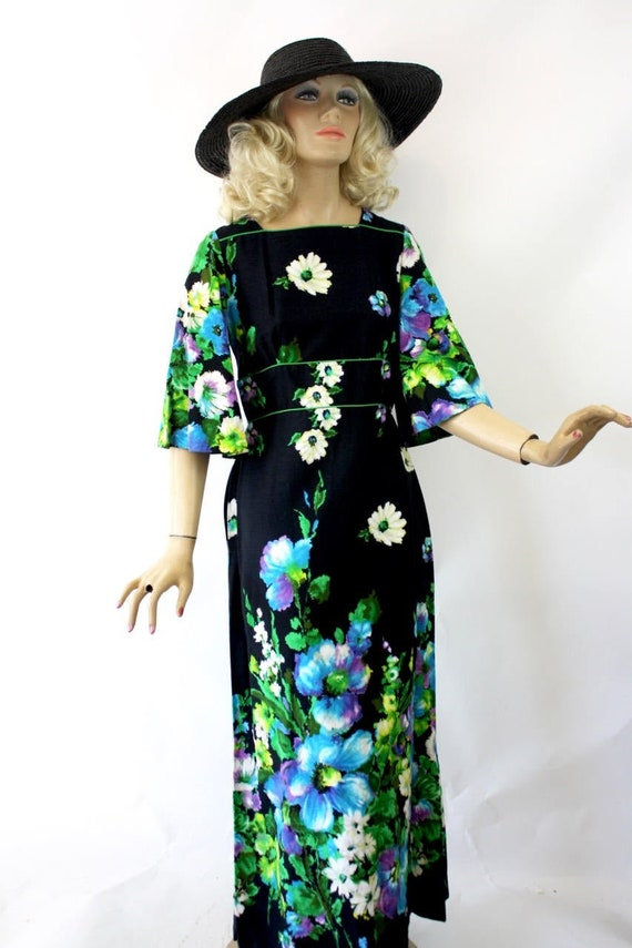 70s Floral Maxi Dress Alice of California Black Ha