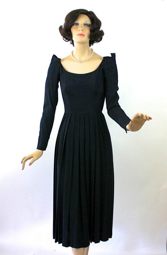 50s Dinner Dress Ceil Chapman Dress Black Rayon F… - image 1