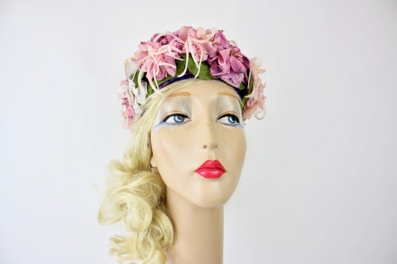 60s Floral Hat Lilac & Pink Silk Flower Pill Box H