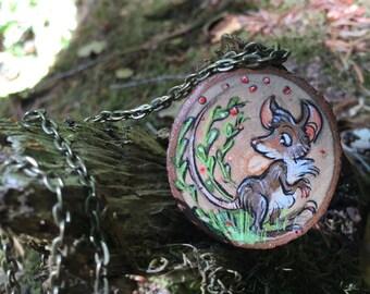 Mouse Wisdom Wood Pendant